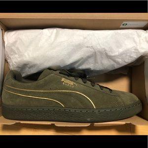Puma Suede Foil FS Olive Night/Gold Sneakers